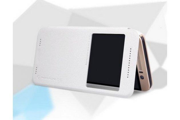 """Фирменный оригинальный чехол-книжка для HTC One ME Dual Sim / M9e 5.2"""" белый с окошком для входящих вызовов водоотталкивающий"""