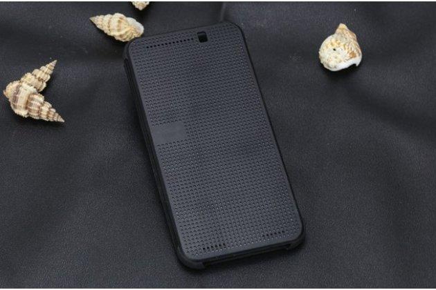 """Фирменный оригинальный официальный умный чехол Dot View flip case для HTC One ME Dual Sim/ M9e 5.2"""" черный"""