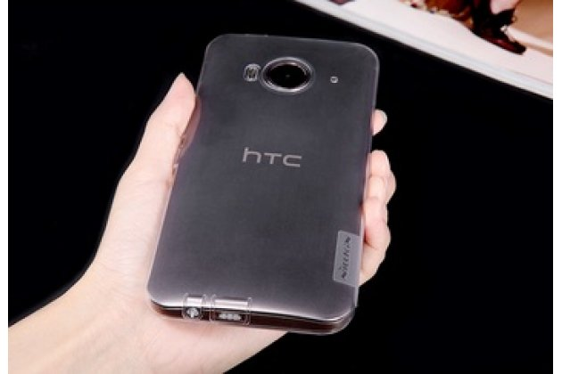 """Фирменная ультра-тонкая полимерная из мягкого качественного силикона  с заглушками задняя панель-чехол-накладка для HTC One ME Dual Sim / M9e 5.2"""" серебристая"""