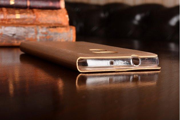 Фирменный оригинальный чехол-книжка для HTC One X10 золотой с окошком для входящих вызовов водоотталкивающий