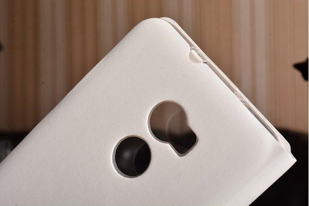 Фирменный оригинальный чехол-книжка для HTC One X10 белый с окошком для входящих вызовов водоотталкивающий