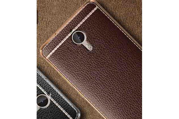 Фирменная премиальная элитная крышка-накладка на HTC One X10 коричневая из качественного силикона с дизайном под кожу