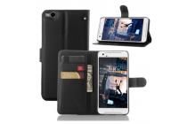 """Фирменный чехол-книжка из качественной импортной кожи с подставкой застёжкой и визитницей для ХТС Ван Икс 9 / HTC One X9 5.5"""" черный"""