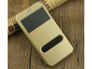 Фирменный чехол-книжка для For HTC One X9 5.5 золотой с окошком для входящих вызовов и свайпом водоотталкивающ..