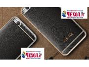 Фирменная премиальная элитная крышка-накладка на HTC One X9 черная из качественного силикона с дизайном под ко..