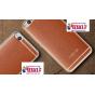 Фирменная премиальная элитная крышка-накладка на HTC One X9 коричневая из качественного силикона с дизайном по..