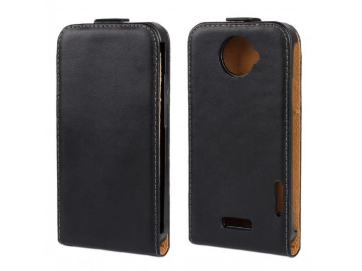 Фирменный оригинальный вертикальный откидной чехол-флип для HTC one X черный кожаный..