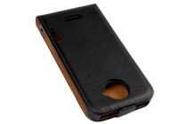 Фирменный оригинальный вертикальный откидной чехол-флип для HTC one X черный кожаный
