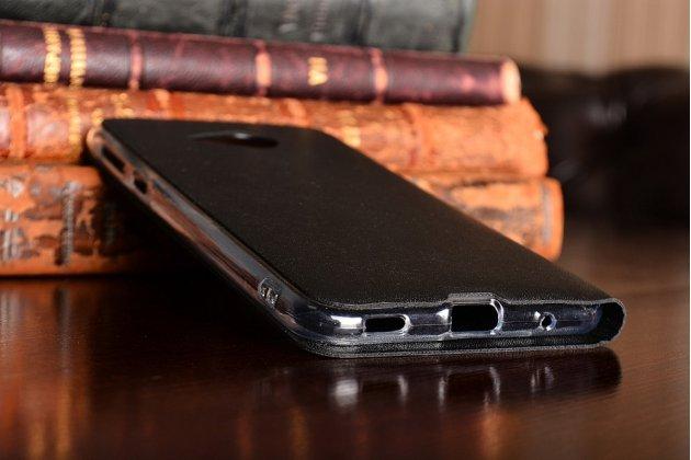 Фирменный оригинальный чехол-книжка для HTC U Play чёрный с окошком для входящих вызовов водоотталкивающий