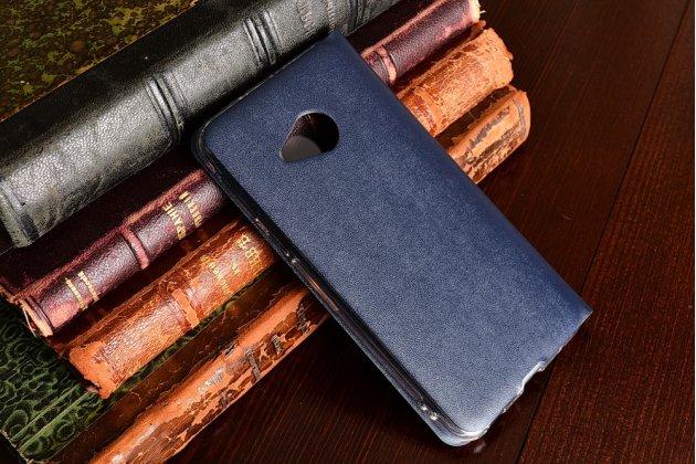 Фирменный оригинальный чехол-книжка для HTC U Play синий с окошком для входящих вызовов водоотталкивающий