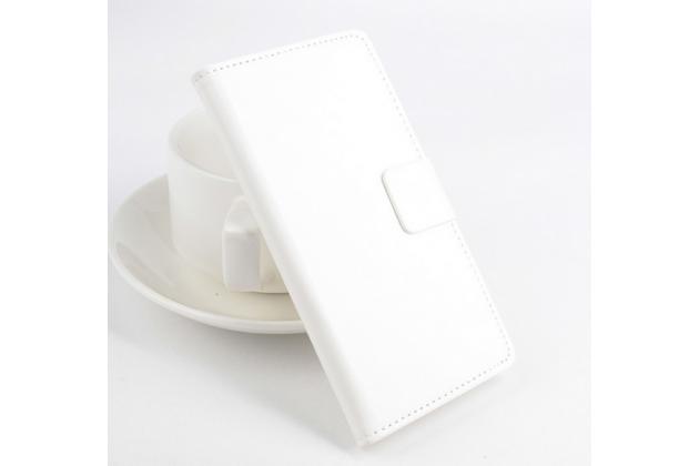 Фирменный чехол-книжка из качественной импортной кожи с подставкой застёжкой и визитницей для HTC U Play белый