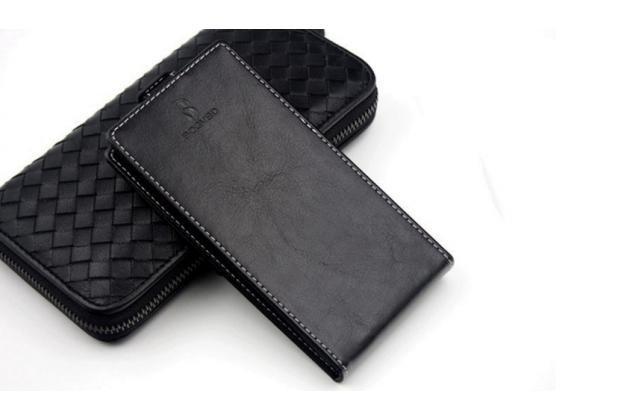 Фирменный оригинальный вертикальный откидной чехол-флип для HTC U Play черный из натуральной кожи Prestige