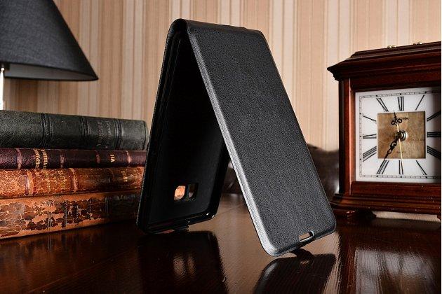 Фирменный оригинальный вертикальный откидной чехол-флип для HTC U Ultra черный из натуральной кожи Prestige