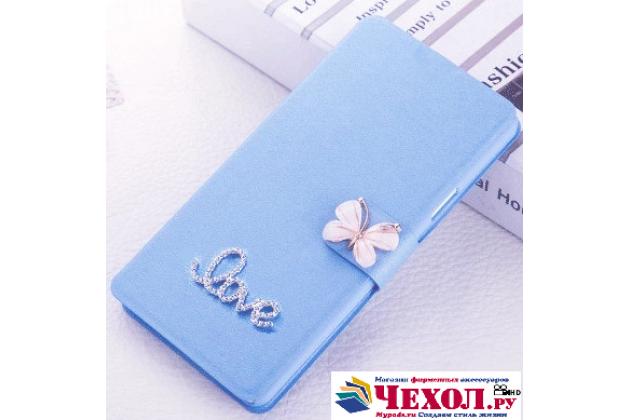 Фирменный роскошный чехол-книжка безумно красивый декорированный бусинками и кристаликами на HTC U Ultra голубой