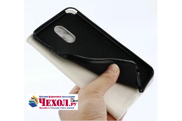 Фирменный чехол-книжка из качественной импортной кожи с подставкой застёжкой и визитницей для LG Stylus 3 M400DY 5.7 с рисунком под мрамор белого цвета.