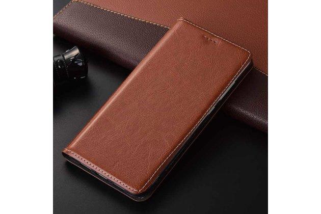 Фирменный чехол-книжка из качественной импортной кожи с подставкой застёжкой и визитницей для HTC 10 evo коричневый