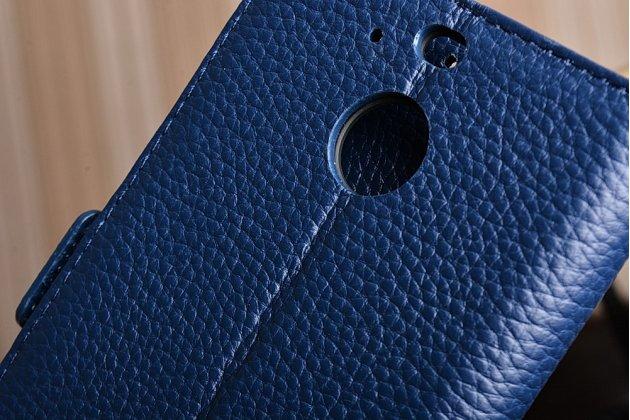 Фирменный чехол-книжка из качественной импортной кожи с подставкой застёжкой и визитницей для HTC 10 evo синий