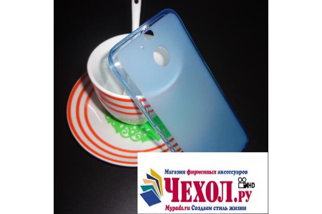 Фирменная ультра-тонкая полимерная из мягкого качественного силикона задняя панель-чехол-накладка для HTC 10 evo голубая