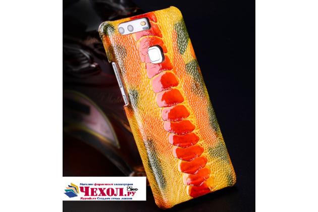 Фирменная роскошная эксклюзивная накладка из натуральной КОЖИ С НОГИ СТРАУСА оранжевая  для HTC 10 evo. Только в нашем магазине. Количество ограничено