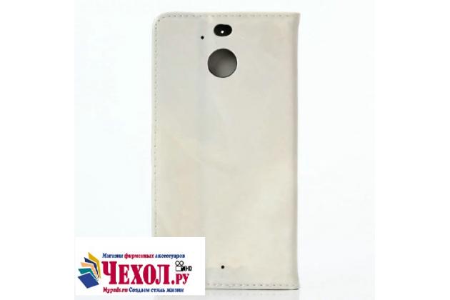 Фирменный чехол-книжка из качественной импортной кожи с мульти-подставкой застёжкой и визитницей с рисунком под мрамор для HTC 10 evo цвет бежевый
