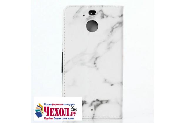 Фирменный чехол-книжка из качественной импортной кожи с мульти-подставкой застёжкой и визитницей с рисунком под мрамор для HTC 10 evo цвет белый