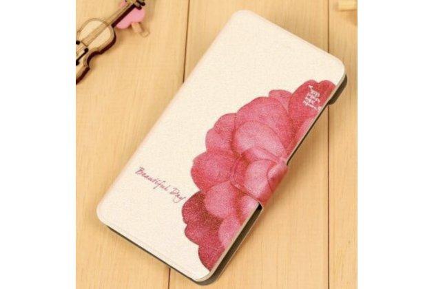 "Фирменный чехол-книжка с подставкой и визитницей для HTC Desire 626 /626 G+ Dual Sim ""тематика Цветок"""