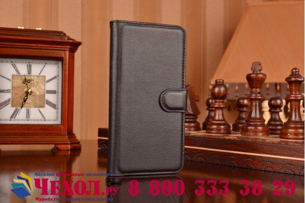 Фирменный чехол-книжка из качественной импортной кожи с мульти-подставкой застёжкой и визитницей для ХТС Дезаир 626 черный