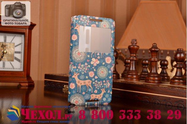 Фирменный чехол-книжка с безумно красивым расписным рисунком Оленя в цветах на HTC Desire 626 /626 G+ Dual Sim с окошком для звонков