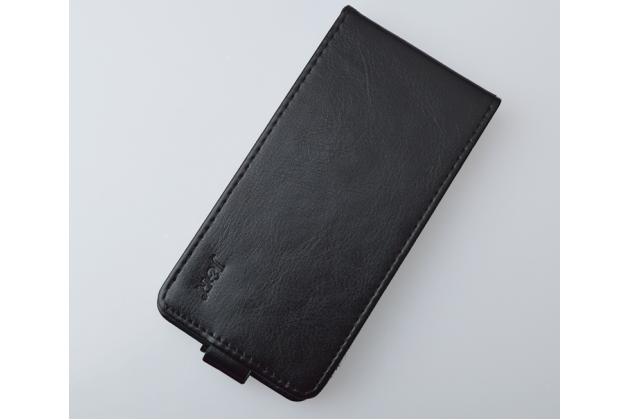 """Фирменный оригинальный вертикальный откидной чехол-флип для HTC Desire 626 /626 G+ Dual Sim  черный из натуральной кожи """"Prestige"""" Италия"""