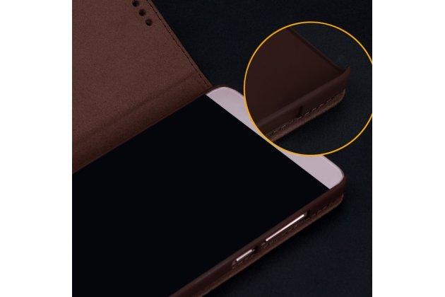 Фирменный премиальный элитный чехол-книжка из качественной импортной кожи с мульти-подставкой и визитницей для HTC U11 коричневый