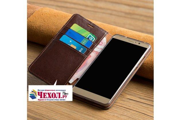 Фирменный премиальный элитный чехол-книжка из качественной импортной кожи с мульти-подставкой и визитницей для HTC U11  цвет красное вино