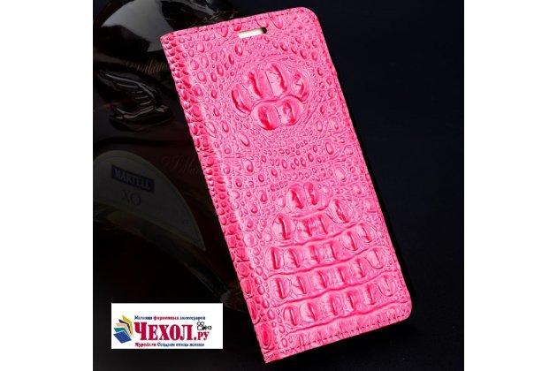 Фирменный роскошный эксклюзивный чехол с объёмным 3D изображением рельефа кожи крокодила розовый для HTC U11 . Только в нашем магазине. Количество ограничено
