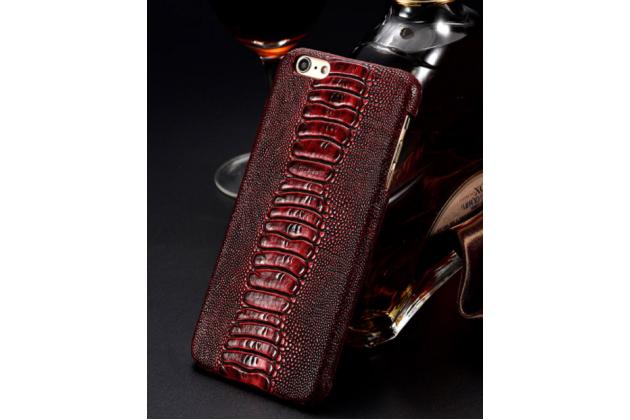 Фирменная элегантная экзотическая задняя панель-крышка с фактурной отделкой натуральной кожи страуса цвет красное вино для HTC U11. Только в нашем магазине. Количество ограничено.
