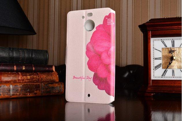 """Фирменный уникальный необычный чехол-книжка для HTC Bolt/HTC Desire 10 """"тематика Пион"""""""