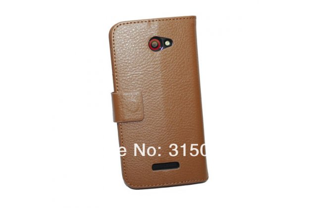 Фирменный чехол-книжка с подставкой для HTC Butterfly X920E коричневый