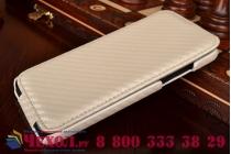 Фирменный оригинальный вертикальный откидной чехол-флип для HTC Butterfly X920E белый кожаный