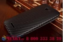 Фирменный вертикальный откидной чехол-флип для HTC Butterfly X920E черный кожаный