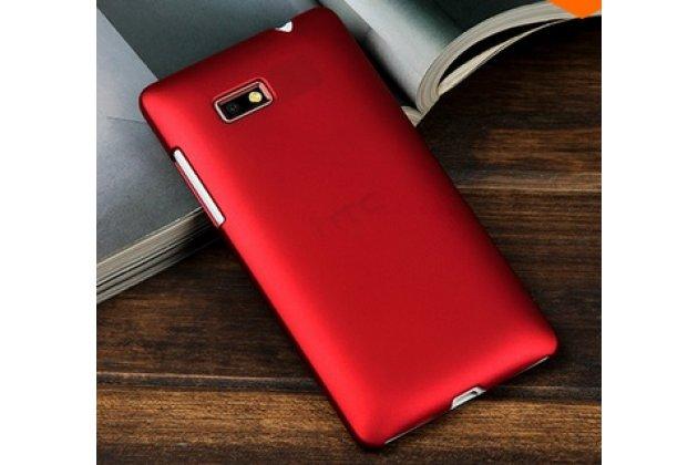 Фирменная задняя панель-крышка-накладка из тончайшего и прочного пластика для HTC Desire 600 Dual Sim красная