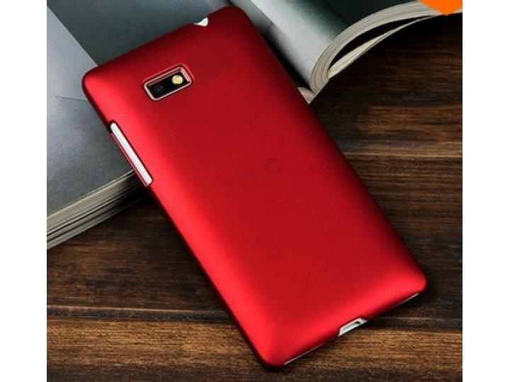 Фирменная задняя панель-крышка-накладка из тончайшего и прочного пластика для HTC Desire 600 Dual Sim красная..