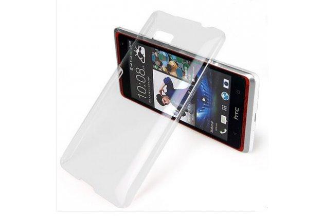 Фирменная ультра-тонкая полимерная из качественного пластика задняя панель-чехол-накладка для HTC Desire 600 прозрачная