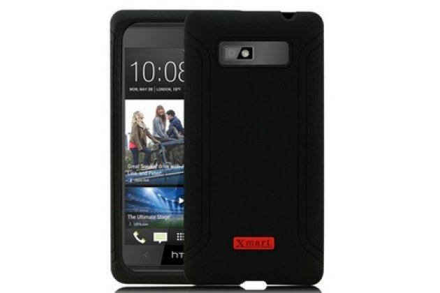 Фирменная ультра-тонкая полимерная из мягкого качественного силикона задняя панель-чехол-накладка для HTC Desire 600 dual sim черная