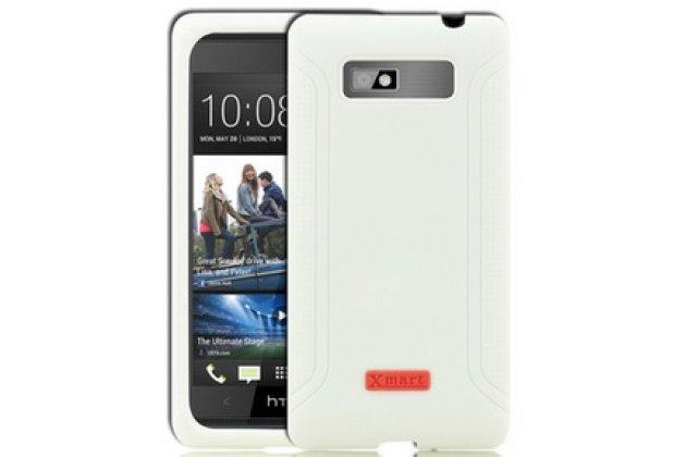 Фирменная ультра-тонкая пластиковая задняя панель-чехол-накладка для HTC Desire 600 dual sim белая