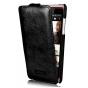 Фирменный вертикальный откидной чехол-флип из импортной кожи для HTC Desire 600 Dual Sim черный кожаный тонкий..