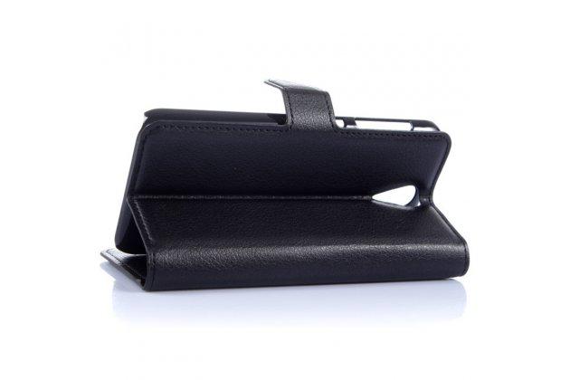 Фирменный чехол-книжка из качественной импортной кожи с подставкой застёжкой и визитницей для HTC Desire 620 черный