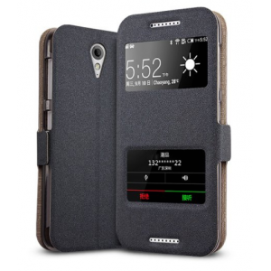 """Фирменный оригинальный чехол-книжка для HTC Desire 620G Dual Sim 5"""" черный кожаный с окошком и свайпом для входящих вызовов"""