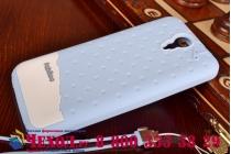 """Фирменная необычная уникальная полимерная мягкая задняя панель-чехол-накладка для HTC Desire 620G Dual Sim """"тематика Андроид в черничном шоколаде"""""""