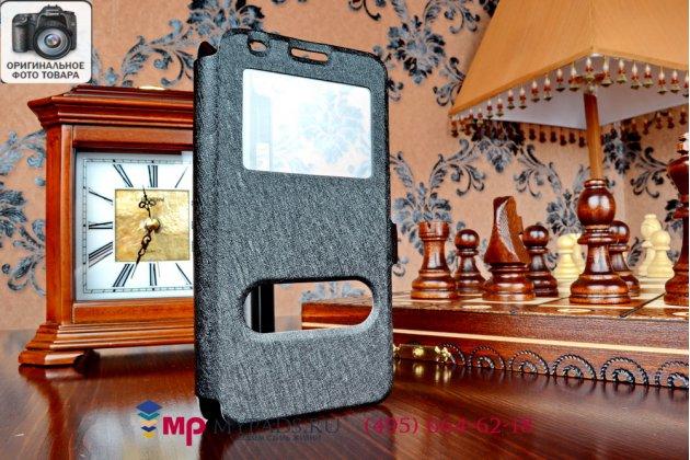 Фирменный оригинальный чехол-книжка для Huawei Ascend G620 черный пластиковый с окошком для входящих вызовов и свайпом
