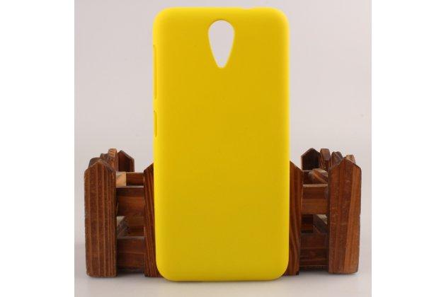 Фирменная задняя панель-крышка-накладка из тончайшего и прочного пластика для HTC Desire 620G Dual Sim  желтый