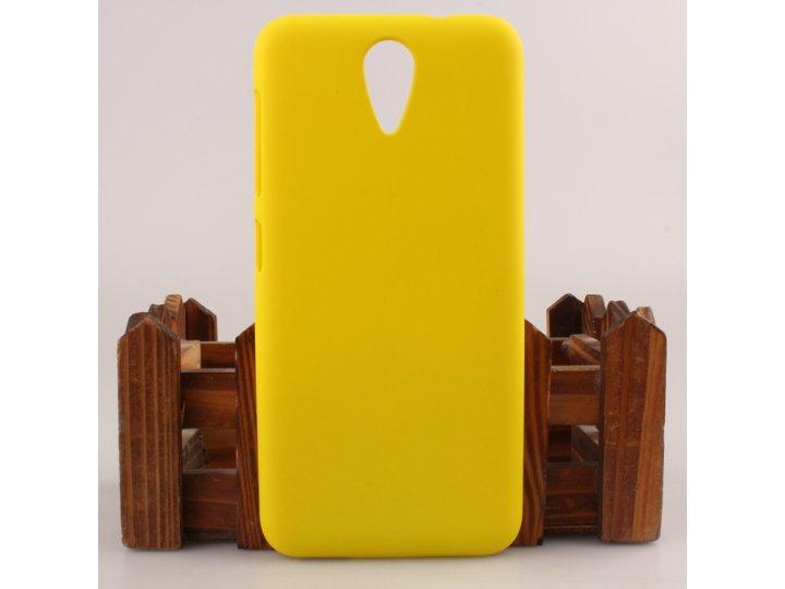 Фирменная задняя панель-крышка-накладка из тончайшего и прочного пластика для HTC Desire 620G Dual Sim  желтый..
