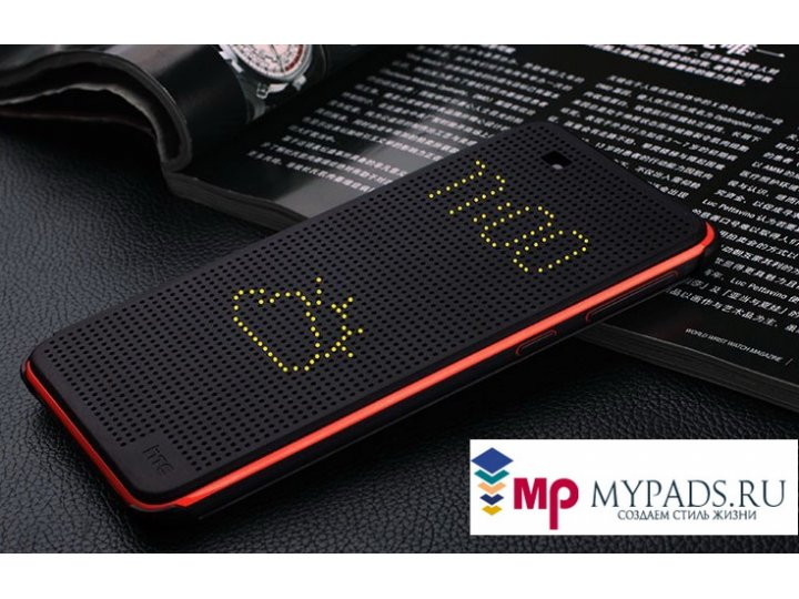 Фирменный оригинальный умный чехол Dot View flip case для HTC Desire 620G Dual Sim черный..